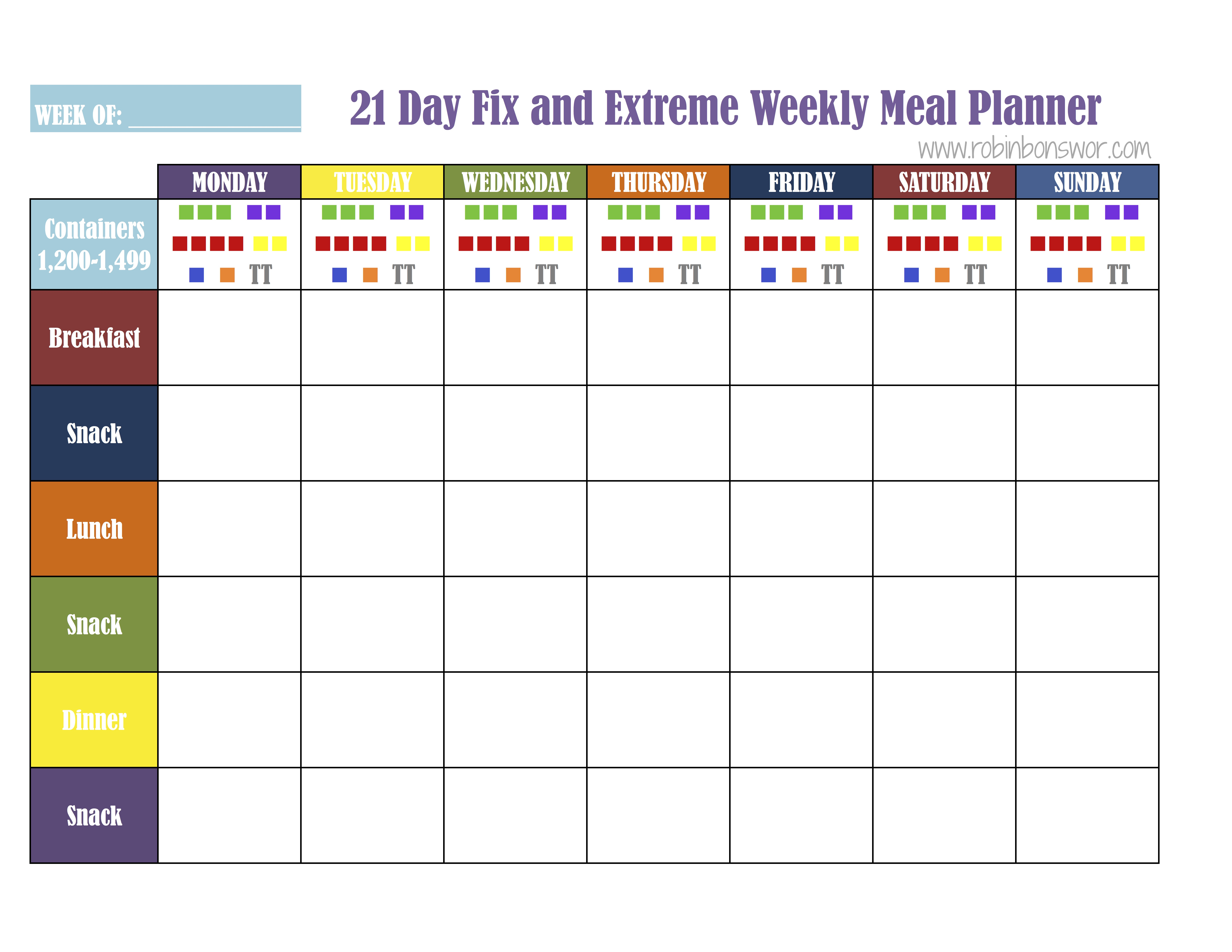 Meal Plan Sheets Fix1200 21 Day Fix