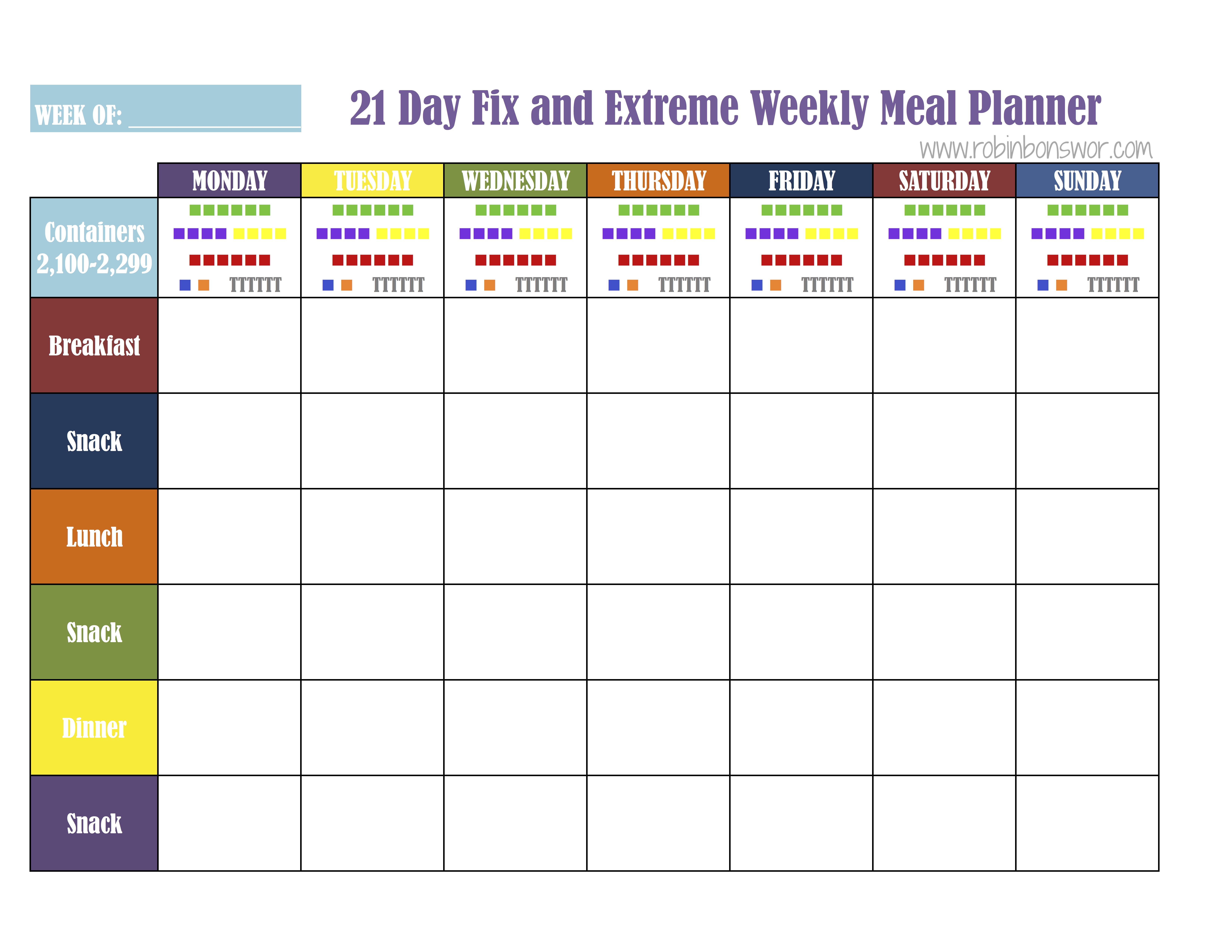21 Day Fix Meal Plan Tools Get Fit