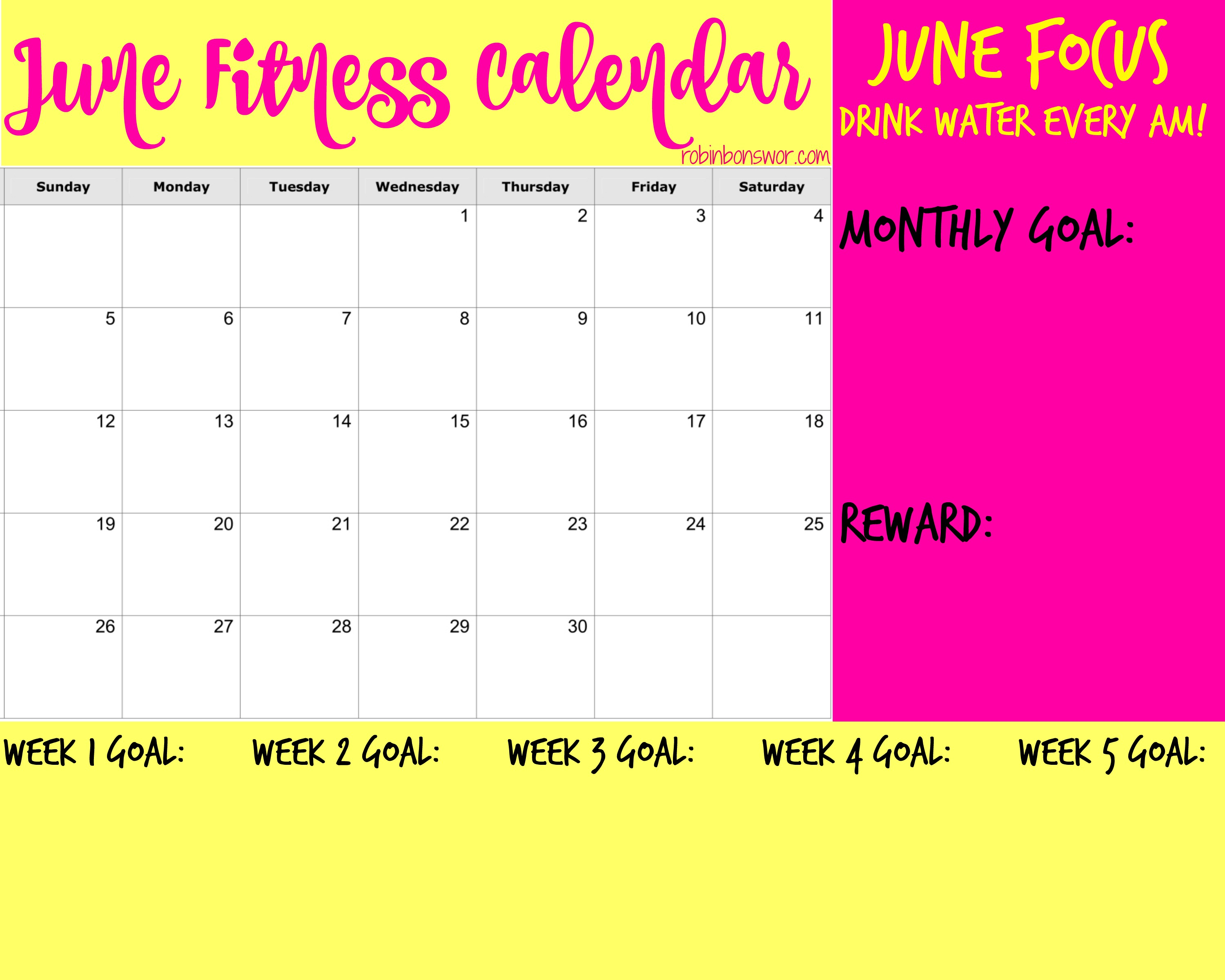 June Fitness Calendar Get Fit Lose Weight Feel Like You Again